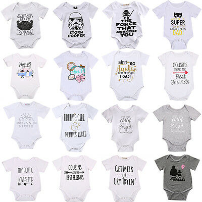Newborn Infant Kids Baby Boy Girl Romper Bodysuit Jumpsuit Clothes Outfit White