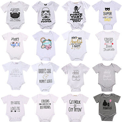 Newborn Infant Baby Boy Girl Romper Jumpsuit Bodysuit Clothes Outfits 0-24M