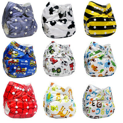 Baby Printing Washable Reusable Cover Wrap Pocket Nappy Cloth + Insert Diaper