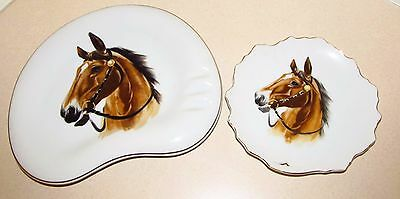 Vintage Set Of Horse Head Gold Trim Plates Or Wall Plaques Excellent Condition