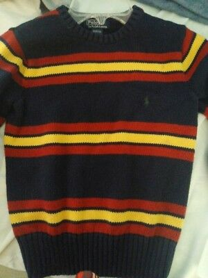 POLO Ralph Lauren Boys Navy/Red, Yellow Stripe Long Sleeve Sweater Size 8-10