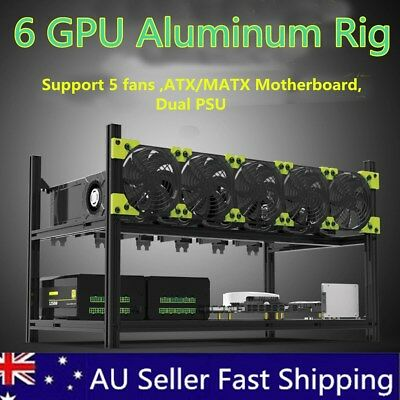 6GPU Aluminum Stackable Open Air Mining Case Computer Frame Rig Bitcoin Ethereum