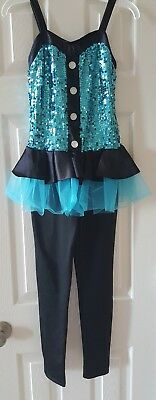 Girls Black/Teal jazz/tap competition dance costume child Medium one piece