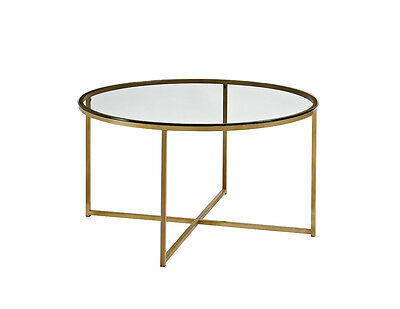 Round modern Coffee table, Side Table, Tempered Glass Top, contemporary