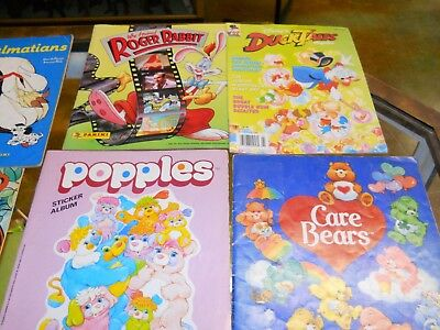 Vintage Lot of Sticker Books, Magazines CARE BEARS, Popples, Garfield Duck Tales
