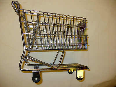 Miniature / Toy Chrome Plated Steel Grocery Shopping Cart