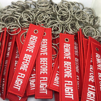 1Pc Remove Before Flight RED Embroidered Label Key Chain Luggage Tag Keychain