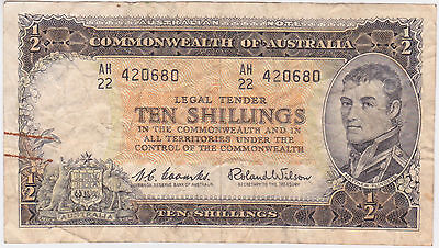 Commonwealth of Australia Ten Shillings Banknote Coombs Wilson Currency Bill