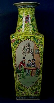 Huge Chinese Famille Rose Porcelain Square Tapering Yellow Ground Floor Vase