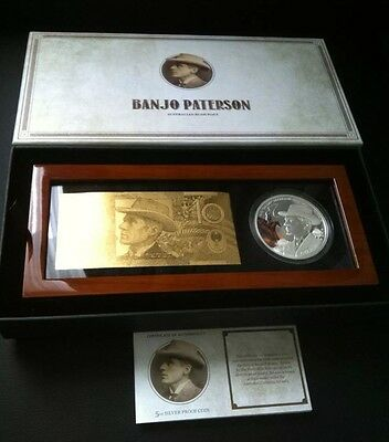2014 150th Ann.of Banjo Paterson 5oz .999 Silver Proof Coin. 157 Of 250 Minted.