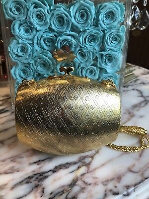 New Vintage Made In Italy For  Rosenfeld Gold Metal Box Clutch Purse Handbag