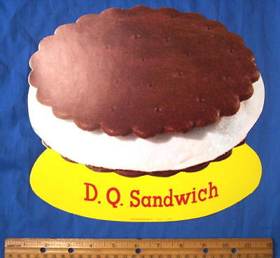 Vintage DAIRY QUEEN ICE CREAM DQ Sandwich Die Cut POP Poster Sign NOS