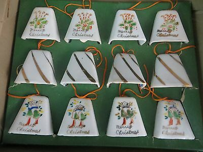 Lot Of 12 Vintage Hand Painted China Bells - Bell Christmas Ornaments