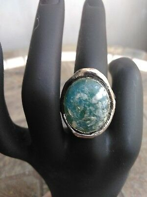 VINTAGE ANCIENT Blue ROMAN GLASS Sterling Silver 925 Ring Israel PZ SZ8