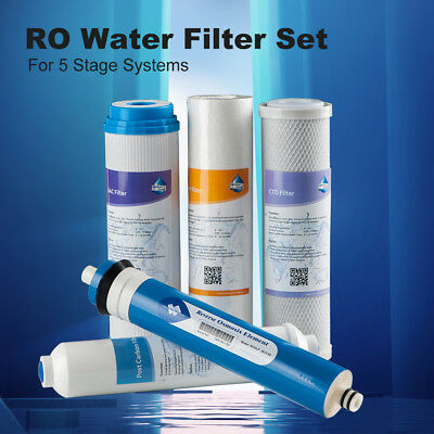 Reverse Osmosis Water Filter Set RO Cartridge for 5 Stage System +50GPD Membrane