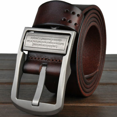 Mens Genuine Real Leather Smooth Girdle Buckle Waistband Waist Band Belt Strap Q