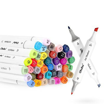 Ohuhu 40 Colors Dual Tips Art Sketch Twin Marker Pens Highlighters with Carrying