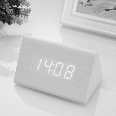 Novelty Triangular Wooden LED Voice Control Alarm Clock Thermometer Kids Bedroom