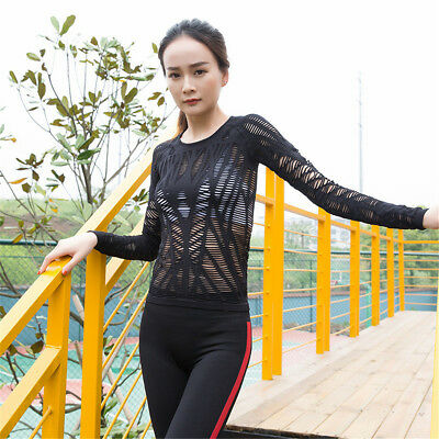 Women Mesh Hollow Out Yoga Top Full Sleeve Sport T Shirt Quick Dry Fitness
