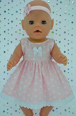 """Play n Wear Doll Clothes To Fit 17"""" Baby Born  PINK POLKA DOT DRESS~HEADBAND"""