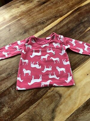 Joules Baby Girls Long Sleeve Horse Print Top Age 0-3 Moths