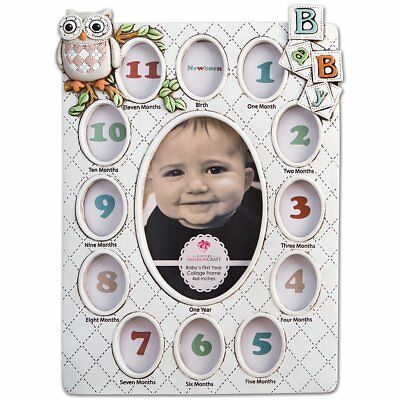Baby's First Year Collage Picture Frame Holds 13 Photos From Birth - Age 1