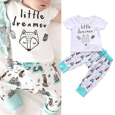 Summer Baby Boy Girl Clothes Little dreamer Short Sleeve Tops+Pants 2PCs Outfits