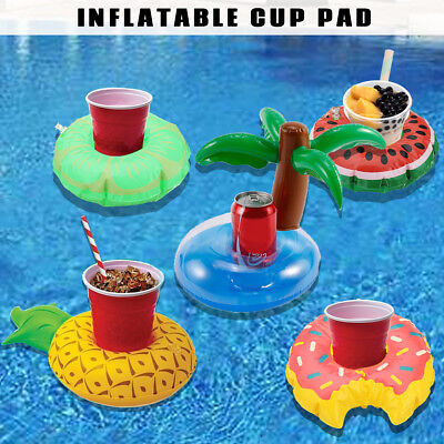 Inflatable Cup Floating Water Drink Can Beer Holder Swimming Pool Beach Toy