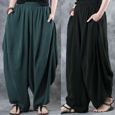 Women Wide Leg Pants Loose Casual Party Club High Waist Cotton Harem Trousers