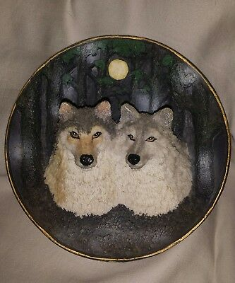 Wall hanging Resin wolves heads Plate with forest and moon in background