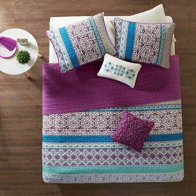 Purple Blue & Grey Geometric Coverlet Set AND Decorative Pillows - ALL SIZES