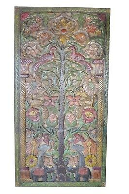Indian Carved Door Panel Beautiful TREE Vintage Wall Sculpture Hand Carved Panel