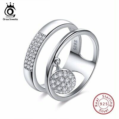 Women CZ Crystal Band Rings Genuine 925 Sterling Silver Wedding Engagement Gifts