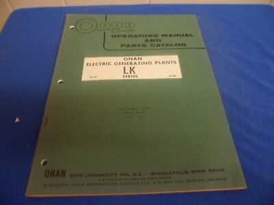 (Drawer 33) Onan Electric Generating Plants LK Operators Manual Parts Cat
