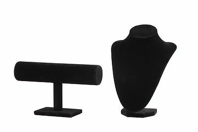 Black Velvet Jewelry Displays - T-Bar for Bracelets Watches; Bust for Necklac...