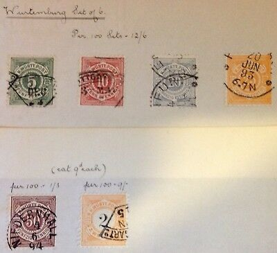 Germany Wurttemberg  Early FU Stamps From Old Approval Book Pages Unverified