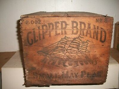 Clipper Brand Peas Numsend & Sons Baltimore Maryland Md Tin Can Crate Wooden Box