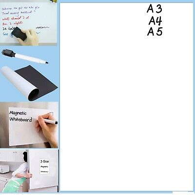 Magnetic Whiteboard Plain Dry Wipe A3/A4/A5 Memo Notice Fridge Planner Magnet UK