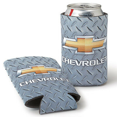 Diamond Plated Coolie Chevy Koozie Chevrolet Bowtie Brand New! Made In The Usa!