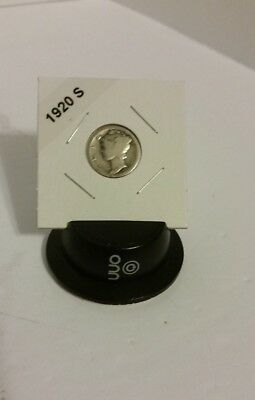 1920-S (San Francisco)  Mint) Mercury Silver Dime - Carded and Labeled