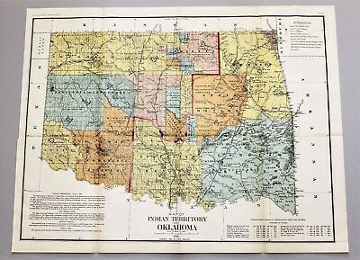 1890 indian territory oklahoma map general land office 5 civilized tribes exrare
