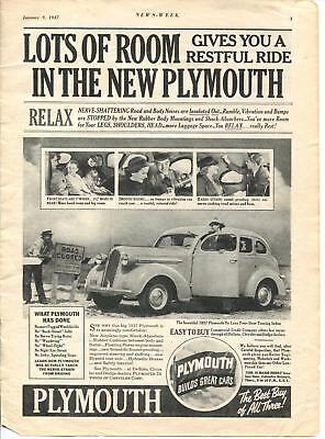 Plymouth Restful Ride - San Diego ads from Newsweek Magazine January 9, 1937