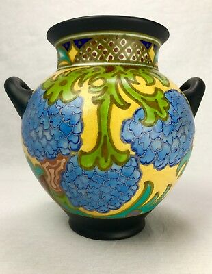 Gouda Pottery Vase / Twin Handled / Large / Blue / Yellow / Art Deco 1920's