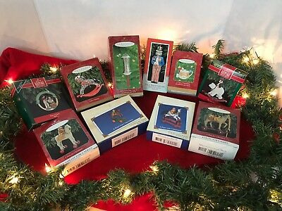 Hallmark Ornaments Lot of 10 - varied themes and years. Pony, zebra, Uncle Sam