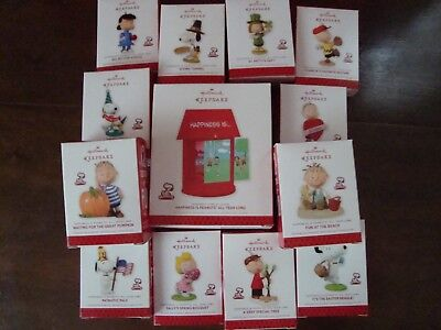 Complete Set of Happiness is Peanuts Monthly Hallmark Ornaments ~ 12 + Display