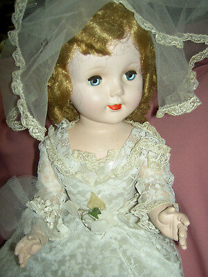 "Large SWEET SUE 24"" hard plastic American Character walker bride doll orig. XLNT"