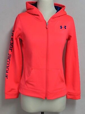 Under Armour Girls sz L Hot Pink Polyester Full Zip Hoodie