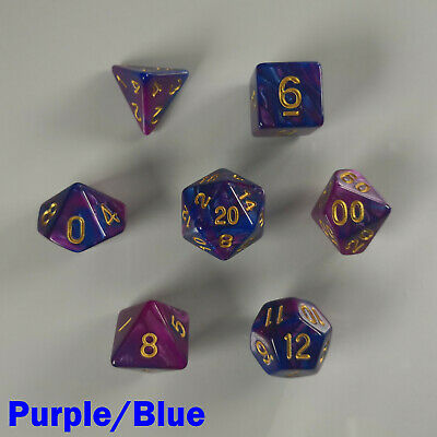 Elemental Poly 7 Dice RPG Set Purple Blue Two Tone D&D DND Dungeons Dragons HD