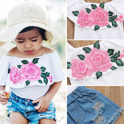 Cute Embroidery Kids Baby Girl Top Denim Shorts Pants Clothes Outfits Set Summer