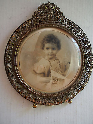 """9"""" Large Antique Gilt Filigree Crown ORNATE Open Work Convex Picture Wall Frames"""